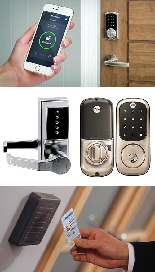 image of a smartphone enabled SmartLock (top) analog and digital keypad locks (middle) and a key-card access control system (bottom)