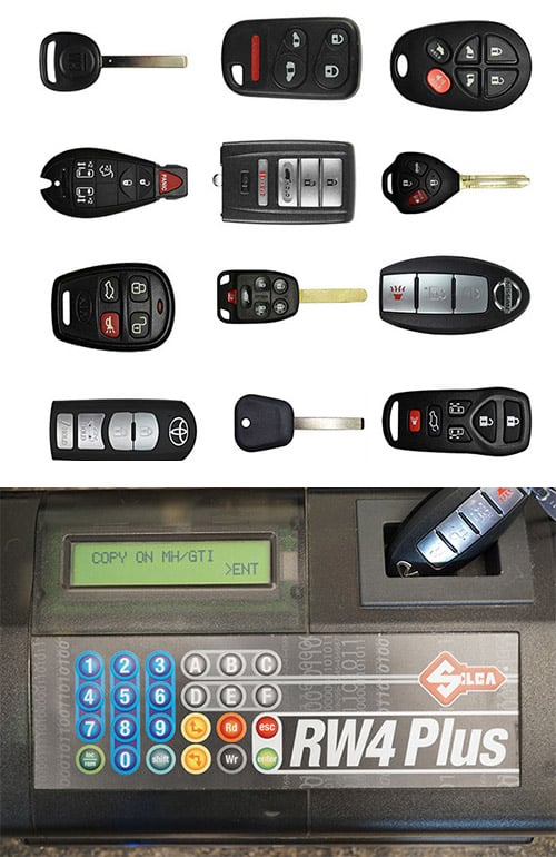 image of a variety of automotive key fobs, remotes, and keys (top) and a fob being programmed (bottom)
