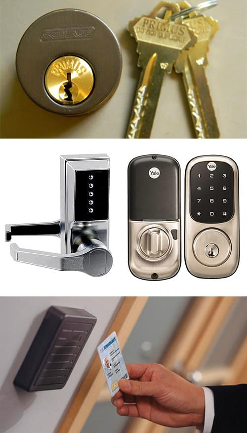 image of a high-security deadbold and keys (top) an analog and digital keypad locks (middle) and a key-card access control system (bottom)
