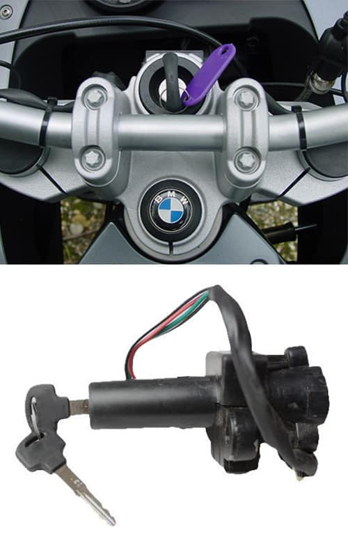 image of a BMW motorcycle with a new key in the ignition (top), and a motorcycle ignition of the type we can repair or replace (bottom).