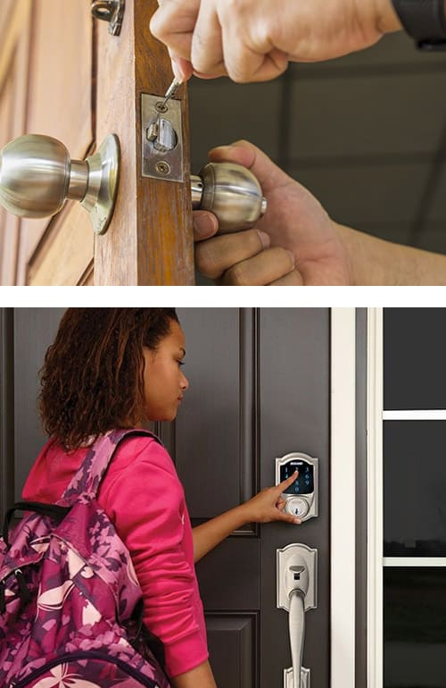 image of a new doorknob being installed on a residential door (top), and a Schlage SmarLock and matching handle on a residential front door (bottom)